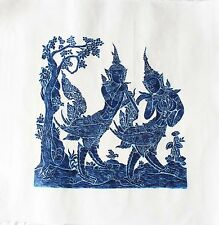 "Thai Temple Rubbing - Dark Blue - Mythical Beings - 24"" x 24"" -           2412DB"