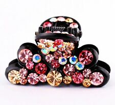 QUALITY Hair Claw using Swarovski Crystal Hairpin Clip Flower Pink brown