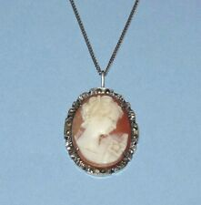 VTG~Antique VICTORIAN Deco CARVED SHELL Sterling Silver CAMEO Marcasite NECKLACE