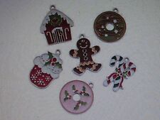 12 Enamel SWEET TREAT CHARMS Christmas charms FREE SH cookies gingerbread + more