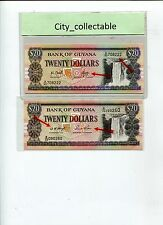 WORLD BANK NOTE - GUYANA $20 DIFF GOVERNOR'S SIGN. UNC NICE NO. # B138