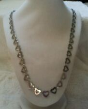 "Qvc's  STEEL by DESIGN 28""Heart Necklace Gray stainless steel $64.99 NWT"