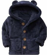 Baby Gap NWT Navy Blue Sherpa Plush Bear Ear Hoody Sweatshirt 6-12 $25