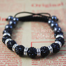 HOT New style Shamballa 9*10 MM  black Crystal disco bracelets A1002