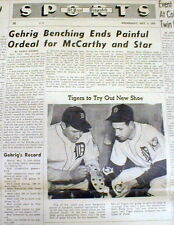 1939 newspaper NY Yankee LOU GEHRIG ends his CONSECUTIVE GAME Iron Man STREAK