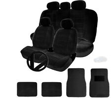 FOR NISSAN SEMI CUSTOM BLACK VELOUR CAR SEAT STEERING WHEEL COVER MAT FULL SET