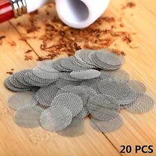 20 Pcs Tobacco Smoking Pipe Silver Stainless Steel Screen Metal Filters 20mm