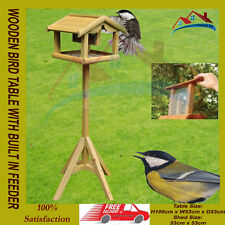 WOODEN BIRD TABLE WITH BUILT IN LARGE FEEDER FREE STANDING BIRDS FEEDING STATION