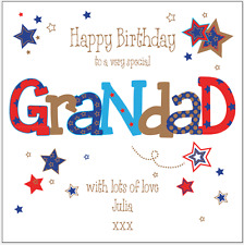 Personalised birthday card grandad 50th 60th 70th 80th 90th any name/message/age