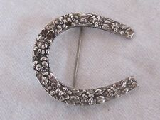 Vintage Sterling Silver .925 Stieff Repousse Lucky Horseshoe Pin Brooch