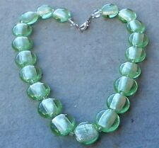 VINTAGE ITALY MURANO  GLASS NECKLACE SILVER LEAF GREEN