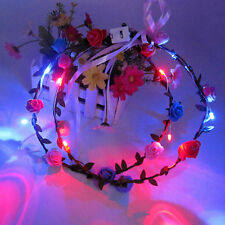Women Boho LED Flashing Floral Flower Hairband Headband Light-Up Wedding Xmas
