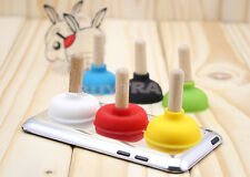 12 X Plunger Holder Suckers Toilet Shape Wood Stands For Phone iPhone MW
