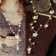 Vintage Women Flower Statement Charm Bib Pendant Long Chain Sweater Necklace