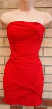 LIPSY RED BANDEAU STRIPE QUILTED MESH TUBE BODYCON BANDAGE PARTY TEA DRESS 6 8