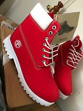 Red/white Timberland Men's Classic 6-inch Premium, Size 10 US