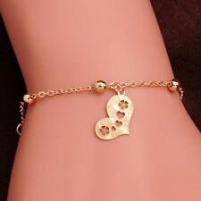 Newest 14K Gold Filled Anklets Heart FOOT CHAIN golden color bracelet Bangle