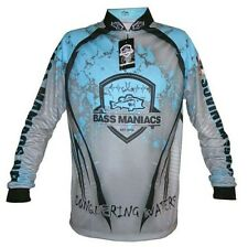 BASS MANIACS FISHING JERSEY SPLASH BLUE TOURNAMENT JERSEY UPF50
