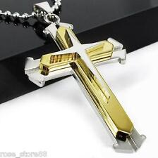 HOT Gift Unisex's Men Gold Silver Stainless Steel Cross Pendant Necklace Chain