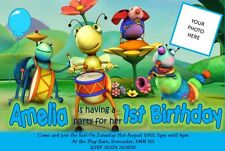 Personalised Party Invitations or thank you cards BIG BUGS BAND x 5 BABY TV