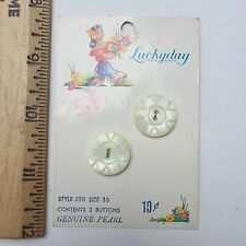 Antique LUCKYDAY Pearl Shell Buttons On BEAUTIFUL Lady Design Original Card C10