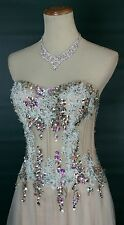 NEW $500 Jovani Sweetheart Corseted Dress Aqua Prom Formal High Low Size 10 Long