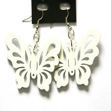 Jewelry 1Pairs Butterfly Wood Animal Hook Dangle Wooden Earrings White HOT Style