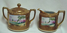 Nippon Hand Painted Landscape Cream & Covered Sugar Bowl Raised Gold Moriage