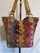 Lucky Brand Lrg Suede Fish Scale Pattern Multicolor Patchwork Shldr Tote Handbag