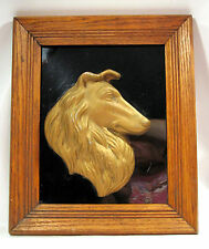 Cermanic Rough Coated Collie Dog Wooden Frame Plaque