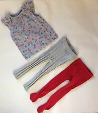 Baby Girls 12-18 Months George Blue T-shirt  Top + X2 Grey And Red Tights