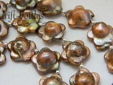 28'' 17MM Coffee Baroque Reborn Freshwater Pearl Necklace Earring Set