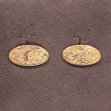 VINTAGE SOLID 9K YELLOW GOLD ART NOUVEAU CUFFLINKS