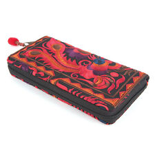 Bohemian Red Flower Embroidery Wallet Fair Trade Made in Thailand with Zipper