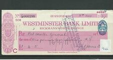wbc. - CHEQUE - CH922 - USED -1937/38 - WESTMINSTER BANK, RICKMANSWORTH