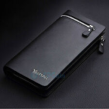 Men's Leather ID Card Holder Zip Coin Wallet Purse Clutch Checkbook Billfold New