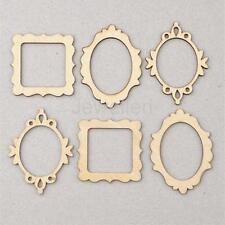 10pcs 3 Wooden Frame Craft Shapes Craft Supplies Cutout DIY Home Decoration