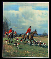 "VINTAGE 1931 ""A MERRY CHASE"" FOX HUNTING HORSE DOGS CALENDAR ART PRINT"