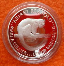 1988 Madagascar Large Silver Proof  20 Ariary Lemur