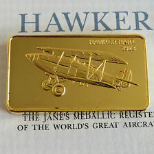 HAWKER HART GOLD PLATED PROOF INGOT - jane's medallic register