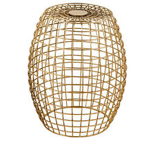 """ADI"" Geometric Metal IRON Wire Side Lamp Coffee Table / Stool GOLD 45cm Cage"