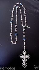 Genuine Pink and Blue Austrian Crystal Antique Silver Girls 1st Communion Rosary
