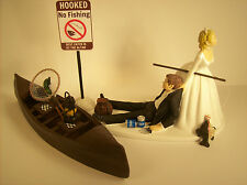 No FISHING Funny WEDDING CAKE TOPPER w/ Boat Bride & Groom Fisherman