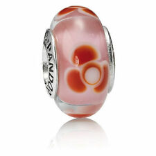 790647 Red Flowers For You Retired Pandora Charm S925 ALE, Murano Glass