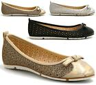 LADIES FLAT SHOE BALLET PUMPS DOLLY GLITTER SLIP ON WOMENS CASUAL SHOES SIZE