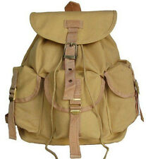 Military Inspired DRAWSTRING CLOSURE Canvas Backpack Day Pack Beige