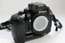 Nikon F4 35mm SLR Film Camera Body with MB-21 grip, neck strap and body cap