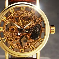 Classic Men's Brown Leather Gold Dial Skeleton Mechanical Sport Army Wrist Watch