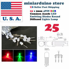 25pcs 5mm 4pin Common Anode Diffused RGB Tri-Color Red Green Blue LED Diodes