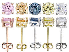 18K OVER STERLING SILVER DIAMOND SIMULANT STUD EARRINGS! SET OF 5 COLORS! NEW!